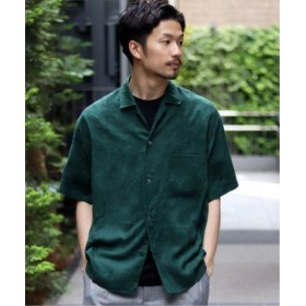 (EDIFICE/エディフィス)フェイクスウェードオープンカラー ショートスリーブ シャツ/メンズ グリーン