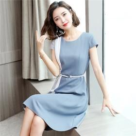 2019春夏人気新品 韓国ファッション / 大きいサイズ 半袖 ロングワンピ コットンリネン / ワンピース/ ベルトのワンピース/シフォン