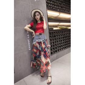 Qoo10のクーポン使えます♪【送料無料】 夏 ファッション プリント ステッチ 新品 シフォンスカート デニムスカート スカート ロングスカート ビーチワンビース お出かけ ビーチスカート