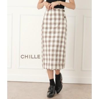 【セール開催中】ANAP(アナップ)ボタン付ブロックチェックタイトスカート