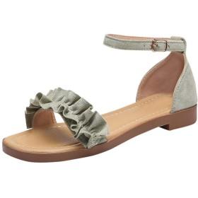 [Top Homie] レディース フラット サンダル ぺたんこ かわいい フリル ストラップシューズ カジュアル スエード お呼ばれ デート 歩きやすい 靴