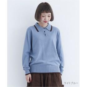 メルロー バイカラーポイントポロシャツ1845 レディース ライトブルー FREE 【merlot】