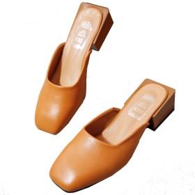 [HSFEO] ミュール レディース パンプス ローヒール サンダル スクエアトゥ サボ ぺたんこ 外出スリッパ ファッション 細見え 歩きやすい 痛くない 履きやすい 美脚 ファッション エレガント