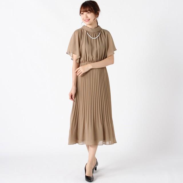 パールドレスレット付◎シフォンワンピースドレス【フォーマルにも】【M~3L】