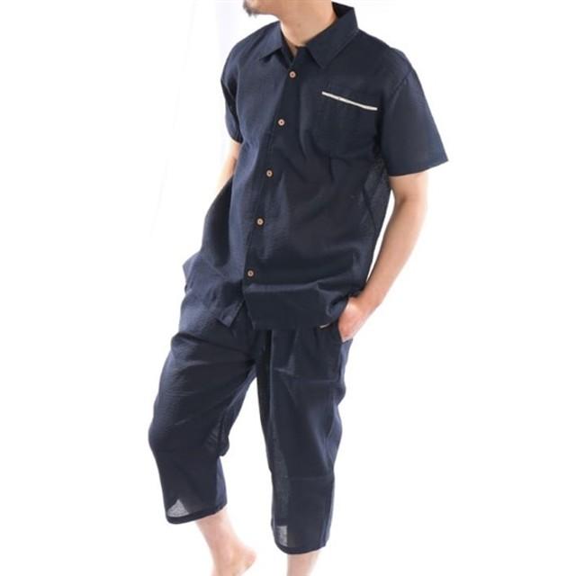 しじら織 前開きパジャマ(半袖シャツ+7分丈パンツ) メンズパジャマ