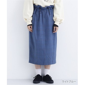 メルロー チェック柄ドロストナロースカート1837 レディース ライトブルー FREE 【merlot】