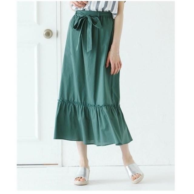 スカート ひざ丈 大きいサイズ レディース ウエスト リボンフレア Joky gal  3L ニッセン