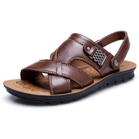 [Shoelike] ビーチサンダル メンズ ファッションサンダル ビジネス スポーツサンダル 牛革 柔らかい メンズサンダル 通気 通勤 通学 アウトドア 日常着用
