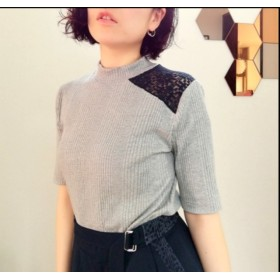 lace docking high-necked top light grayレース切替ハイネックカットソートップグレー