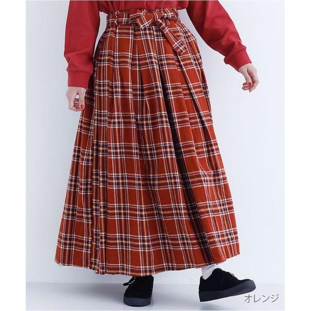 メルロー タータンチェック柄ウエストリボンプリーツスカート1675 レディース オレンジ FREE 【merlot】