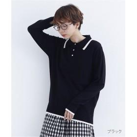 【20%OFF】 メルロー バイカラーポイントポロシャツ1845 レディース ブラック FREE 【merlot】 【セール開催中】