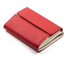 (コラーレ) corale ミニ財布 レディース 三つ折り 財布 バイカラー 小さい 本革 かわいい プリズムレザー 12colors (レッド×アイボリーホワイト)