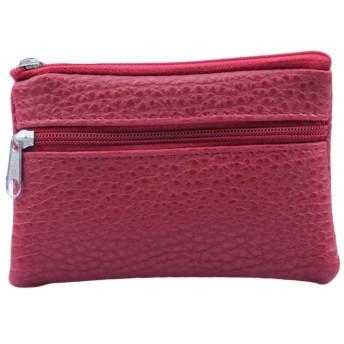 レディース財布 人気 YOKINO ボックス型小銭入れ 隠しポケット付き 二つ折り財布 薄い 多機能 小銭入れ 大容量 コインケース カードケース おしゃれ 小銭入れ (Red)