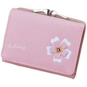 花柄財布 レディース 三つ折り ミニ財布 がま口 小銭入れ かわいい 小さい財布 コンパクト 人気 ウォレット 大容量 カードコインケース 財布 女の子 子供用プレゼント6色 (ピンク)
