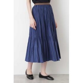 HUMAN WOMAN コットンポリエステルライトタンブラースカート ひざ丈スカート,ブルー