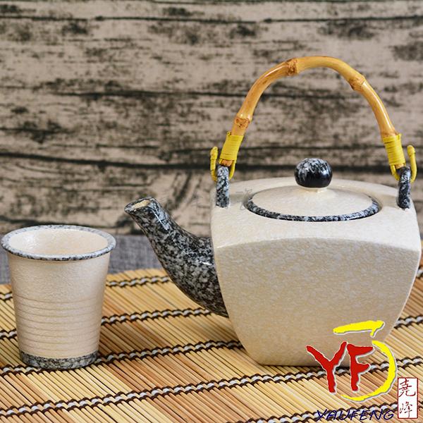 ★堯峰陶瓷★免運費 茶具水紋藤把壺 方壺款 一壺五杯組