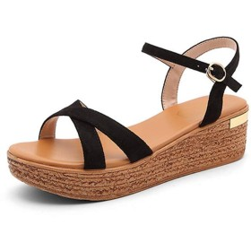 [VALER] 大きいサイズ くろ ウェッジソール 歩きやすい サンダル 厚底 10cmヒール オープントゥ ノンスリップ ファッション 走れる 24.0cm 疲れない ウェッジ 靴 レディースシューズ 厚底サンダル