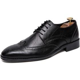 [つるかめ] オックスフォードシューズ ビジネスシューズ 革靴 メンズ カジュアルシューズ 外羽根 紳士靴 ドレスシューズ ストレートチップ ウイングチップ モカシンーズ ウォーキング 四季 ブラック 28.0CM cbJBD19