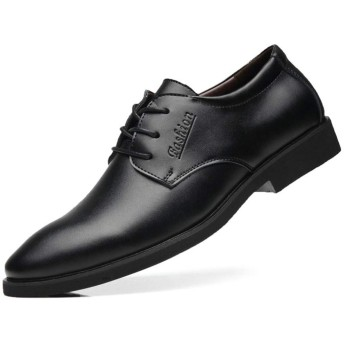 [PIRN] 革靴 メンズ レースアップ 外羽根 オシャレ かっこいい 27.0cm ブラック 耐久 大人 快適 歩きやすい カジュアル 軽量 滑り止め 衝撃吸収 サイドゴア 営業マン 通勤 無地 オールシーズン プレーンヒール ドレスシューズ
