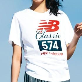 ベルーナ <new balance>クラシック574 Tシャツ ホワイト M レディース