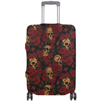 スーツケースカバー 荷物カバー スカル 赤バラ 伸縮素材 ラゲッジカバー 防塵 擦り傷防止 トラベルアクセサリ 旅行