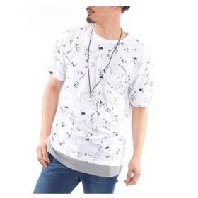 アクセサリー付き裾レイヤード総柄プリント半袖Tシャツ Tシャツ・カットソー