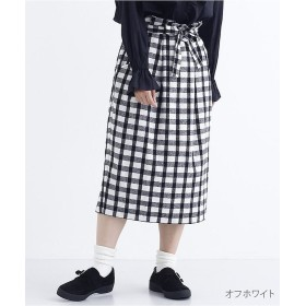 メルロー ウール混チェック柄タイトスカート1830 レディース オフホワイト FREE 【merlot】