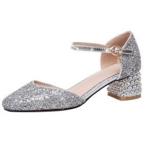 [Coolulu] レディース パンプス キラキラアンクルストラップ レディース 靴 結婚式 パンプス サイドオープン パンプス レディース 太ヒール レディース 歩きやすい靴 サーズ:26 cmシルバー