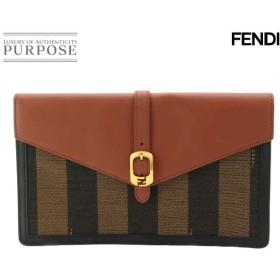 未使用 展示品 フェンディ FENDI ペカン クラッチ バッグ キャンバス レザー ブラウン 8M0284