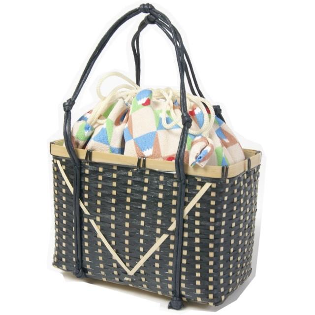 女性浴衣用巾着 竹製かご付 ゆかたバッグ レディース和装小物 婦人和雑貨 (富士山柄四角かご)