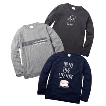 プリント長袖Tシャツ3枚組(ロゴ) Tシャツ・カットソー