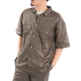 綿麻ストレッチ素材BIGシルエット半袖シャツ カジュアルシャツ