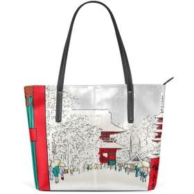 ハンドバッグ トートバッグ レディース 大きめ 大容量 マザーバッグ 通勤バッグ 軽量 手提げ 肩掛け かばん 大人 シンプル プレゼント 浮世絵 和柄 和風