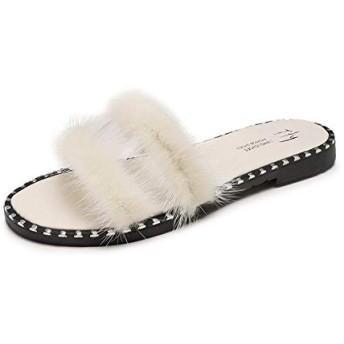 [TTH] フリーススリッパ女性のかわいいクマサンダル2019新しい透明な靴を履く夏のファッションワードスリッパ女性の靴 (米色,38)
