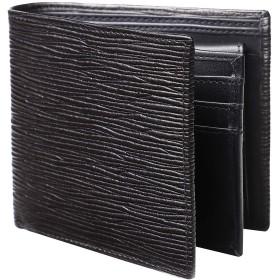 [Raffinato] メンズ 二つ折り財布 レザー 本革 小銭入れ 取り外し式カード入れ 14枚 (3-ブラック×ブラック)