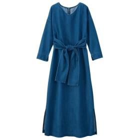 GeeRA リボンデニムワンピース ブルー LL レディース 5,000円(税抜)以上購入で送料無料 ワンピース 夏 レディースファッション アパレル 通販 大きいサイズ コーデ 安い おしゃれ お洒落 20代 30代 40代 50代 女性 ワンピース ドレス