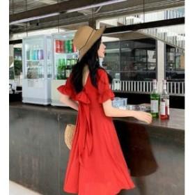 バックリボン ミニワンピース フレアワンピース レディース 韓國 オルチャン ファッション 夏服 レディース 夏新作ワンピース