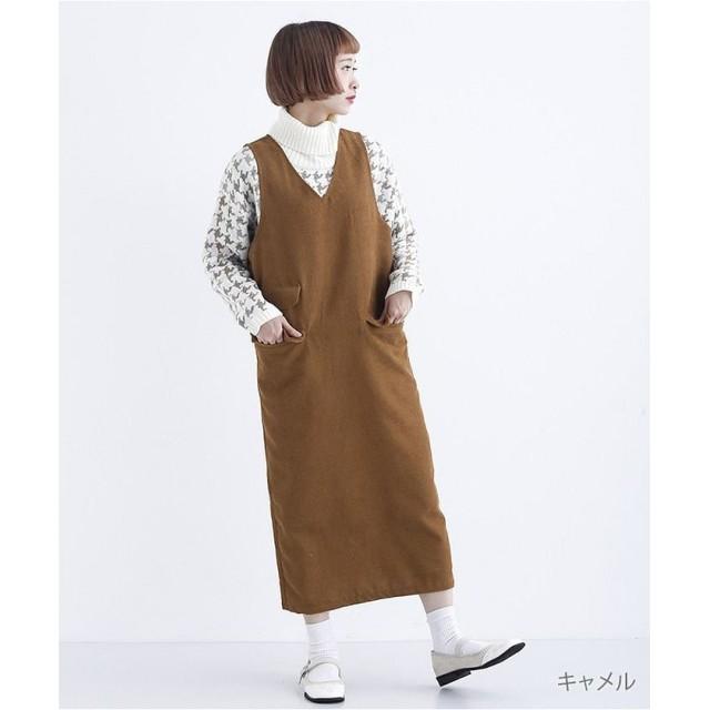 【20%OFF】 メルロー アシメポケットジャンパースカート770 1527 レディース キャメル FREE 【merlot】 【セール開催中】