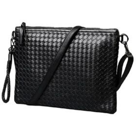 Lamore 今日から オシャレ 編み込み クラッチバッグ セカンドバッグ 2way ビジネス パーティ お出掛け プレゼント メンズ バッグ c128-192 (ブラック 黒)