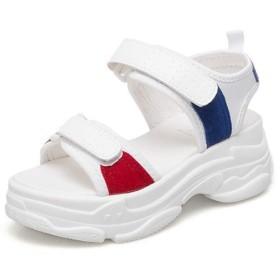 [ムリョシューズ] ウェッジソール 厚底 スポーツサンダル サンダル スポーツ 黒 白 レディース カジュアル ベルクロ 大きいサイズ 小さいサイズ 歩きやすい 23.0cm 痛くない 靴 軽い スポサン フラット スニーカーサンダル 夏 歩きやすい ホワイト
