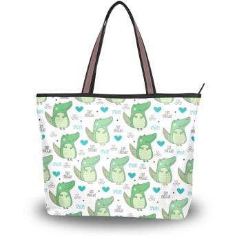 ユキオ(UKIO) トートバッグ かわいい クロコダイル ワニ 緑 バッグ かばん レディース ハンドバッグ 人気 通勤 通学 大容量 丈夫 ファスナー付き 軽量 誕生日プレゼント おしゃれ Lサイズ