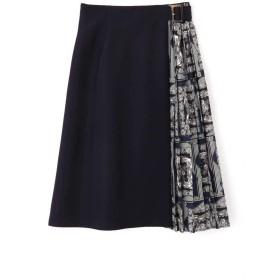 【公式/NATURAL BEAUTY BASIC】スカーフプリント切替スカート/女性/スカート/ネイビー/サイズ:M/(表生地)ポリエステル 100%(別布部分)ポリエステル 100%(裏生地)ポリエステル 100%