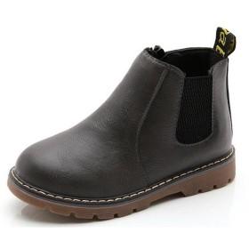 (ダダウン)DADAWEN 子供ブーツ 男の子 女の子 ショートブーツ 裏ボア 防水ブーツ ジッパー付き 履きやすい 滑り止め 通学 通園 グレー 18.5cm