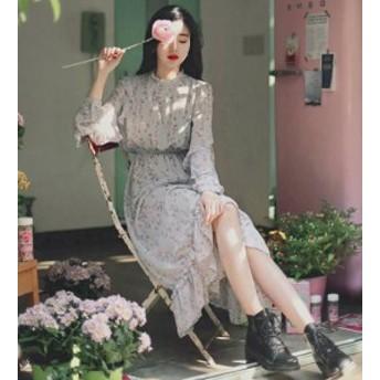 花柄 ロングワンピース レディース 韓國 オルチャン ファッション 春服 レディース 春新作 ワンピース オルチャン 韓國 風