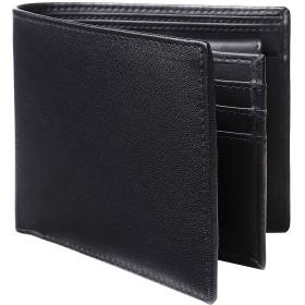 [Raffinato] メンズ 二つ折り財布 本革 小銭入れ レザー 取り外し式カード入れ 14枚 (2-ブラック×ブラック)