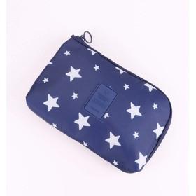 (TOZOファクトリー) 収納ポーチ 小物入れ トラベルポーチ スマホ 充電器 ケーブル 収納ケース 携帯用ポーチ 旅行用 女性用 かわいい 星柄 ブルー 青