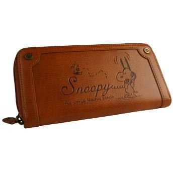 [スヌーピー] SNOOPY 財布 レディース ファスナー長財布 ヴィンテージ 型押し 刻印 シック カード入れ 小銭入れあり ジャバラ 女性用 (キャメル)
