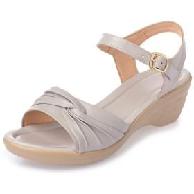 サンダル レディース ウェッジソール 春夏 シューズ 厚底 軽い 夏 靴 サンダル ウェッジ ハイヒール 大きいサイズ グレー 痛くない 25.5cm コンフォート ウェッジサンダル