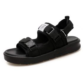 [フルタイムの靴と服] 男性用サンダル2019夏用の夏のカジュアルフラットシューズ滑り止めビーチサンダル 25cm 黒