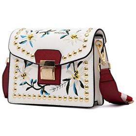 刺繍バック 花柄 ショルダーバッグ 斜め掛け 上質 PUレザー スタッズバッグ 2way ショルダーチェーン ボヘミアン バッグ ホワイト
